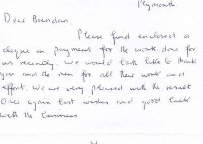 Image of a handwritten testimonial letter.